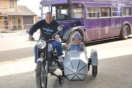 Keith Hawk & Josée Le Blanc with Hagrid's motorbike at WB Studio Tour, 2012
