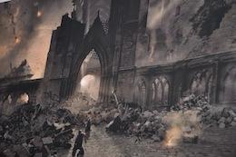 Battle of Hogwarts concept art at WB Studio Tour, 2012
