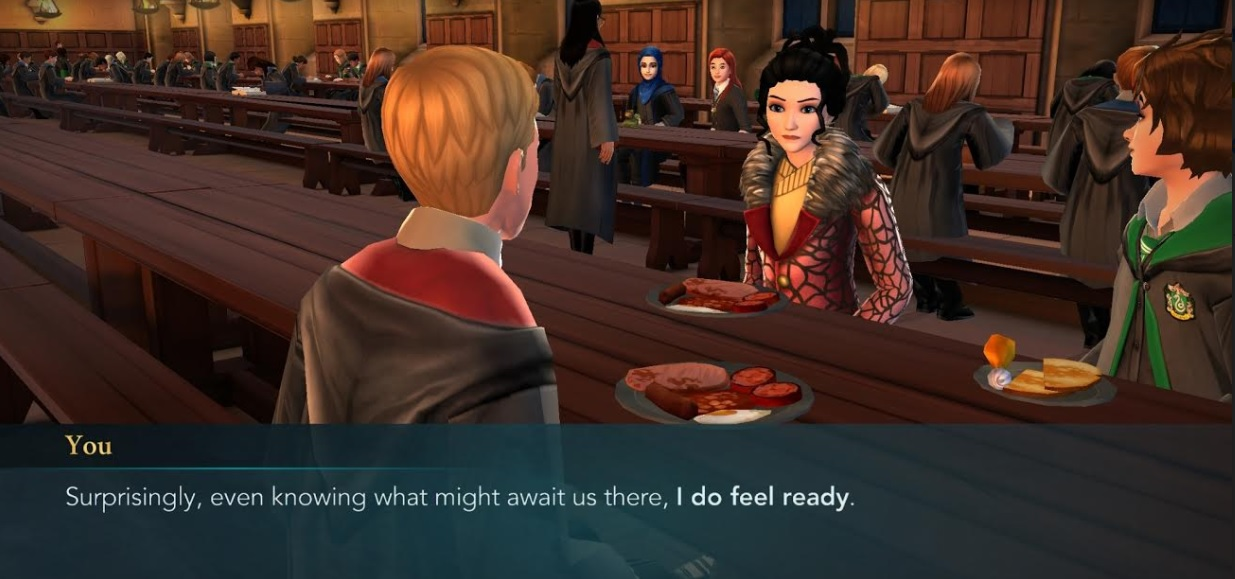 "Your character has breakfast with Ben Copper and Merula Snyde in ""Harry Potter: Hogwarts Mystery""."