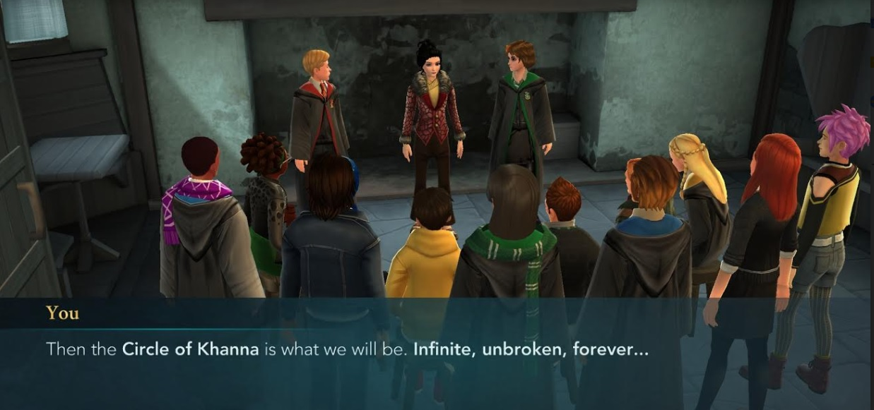 "Your character and their friends form the Circle of Khanna in ""Harry Potter: Hogwarts Mystery""."