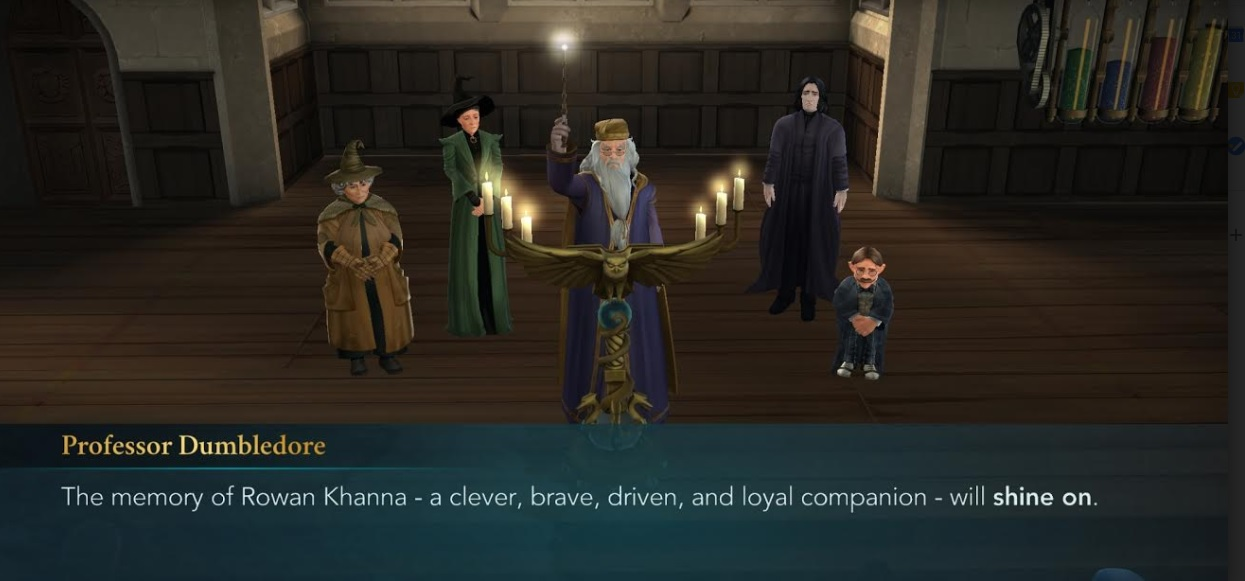 "Albus Dumbledore leads a tribute to Rowan Khanna in ""Harry Potter: Hogwarts Mystery""."