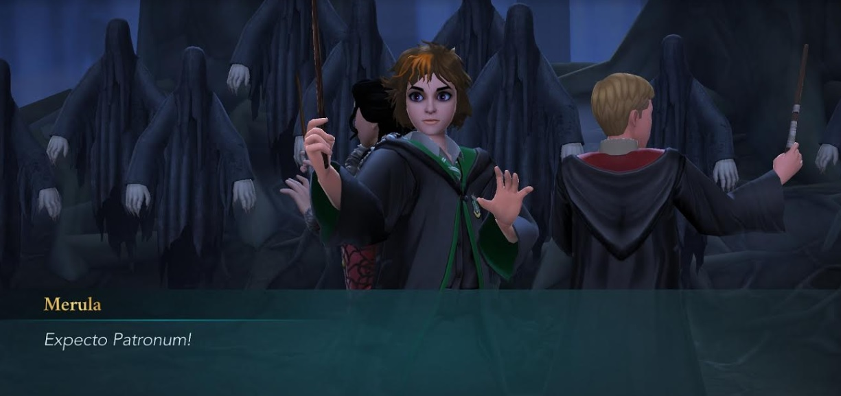 "Merula Snyde tries to fend off about a billion Dementors with the Patronus Charm in ""Harry Potter: Hogwarts Mystery""."