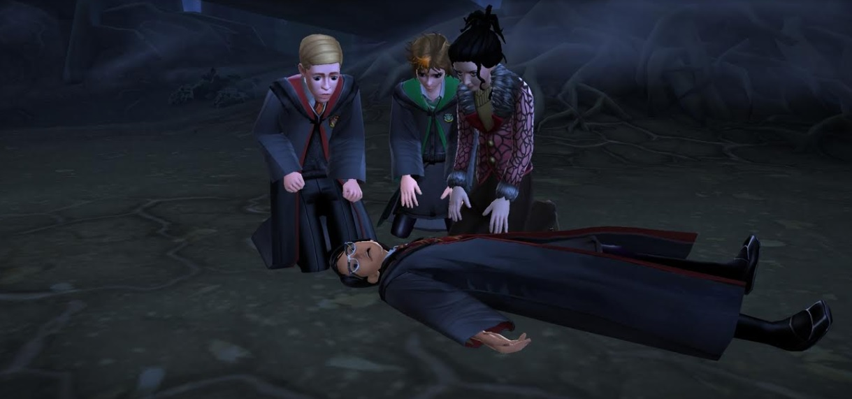 "Your character, Ben Copper, and Merula Snyde gather around the body of Rowan Khanna in ""Harry Potter: Hogwarts Mystery""."