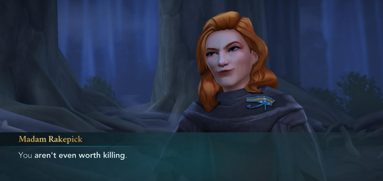 "Patricia Rakepick doesn't think much of Merula Snyde in ""Harry Potter: Hogwarts Mystery""."
