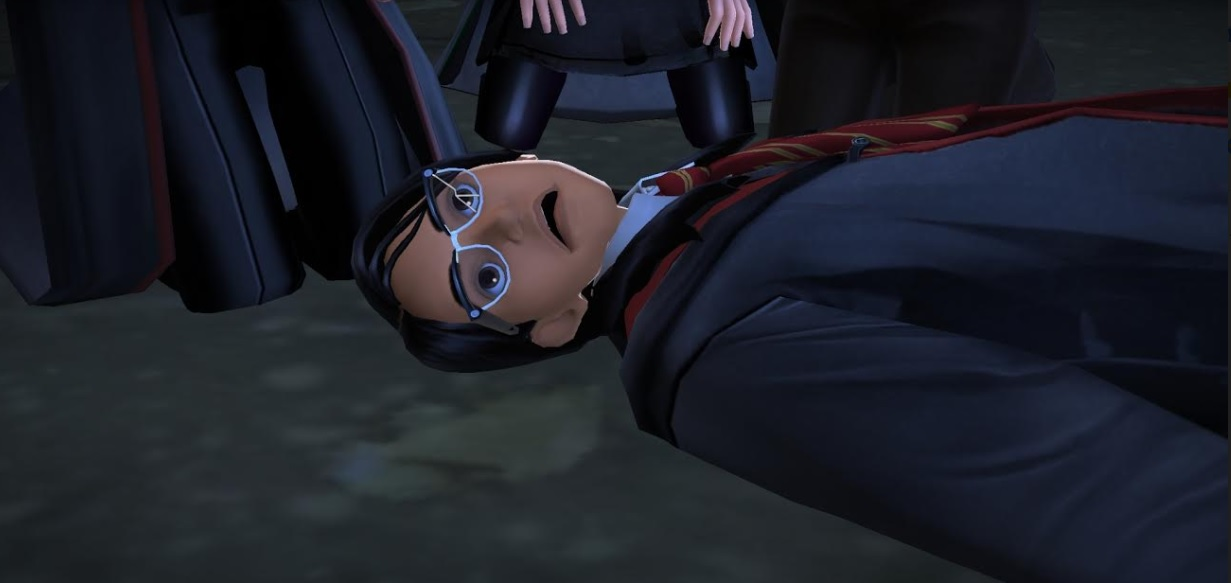 "Rowan Khanna lies dead after being killed by Patricia Rakepick in ""Harry Potter: Hogwarts Mystery""."