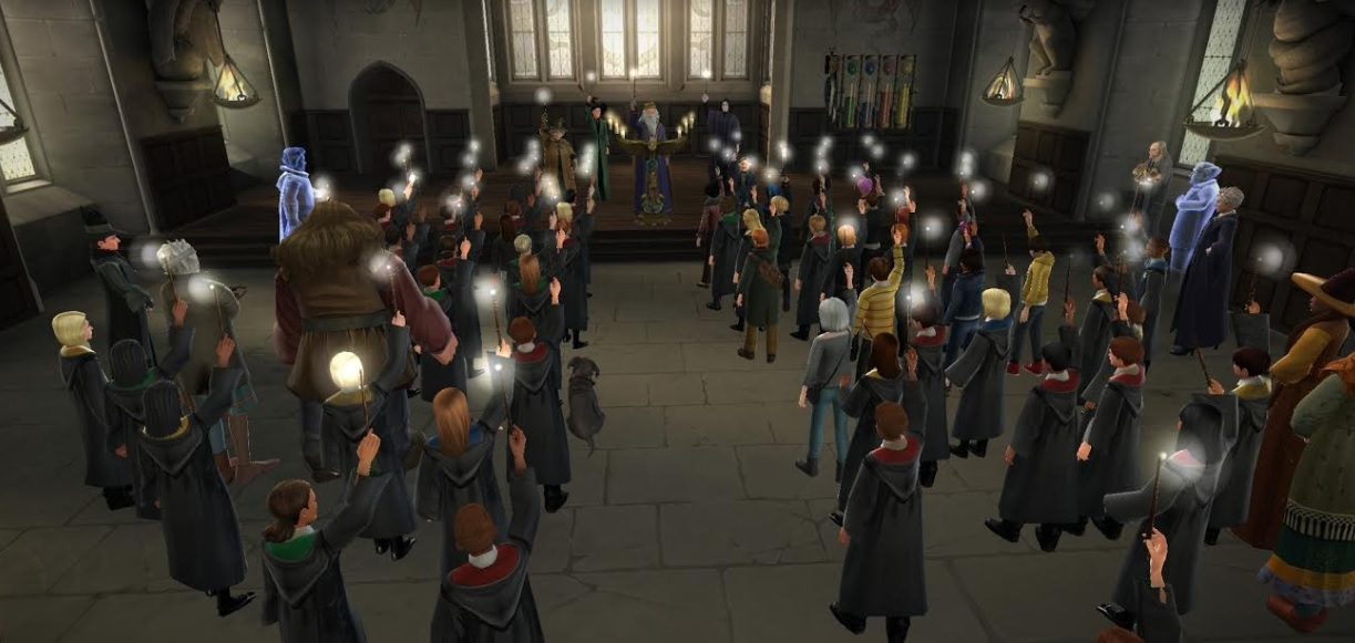 "Everyone at Hogwarts raises their wands in memory of Rowan Khanna in ""Harry Potter: Hogwarts Mystery""."