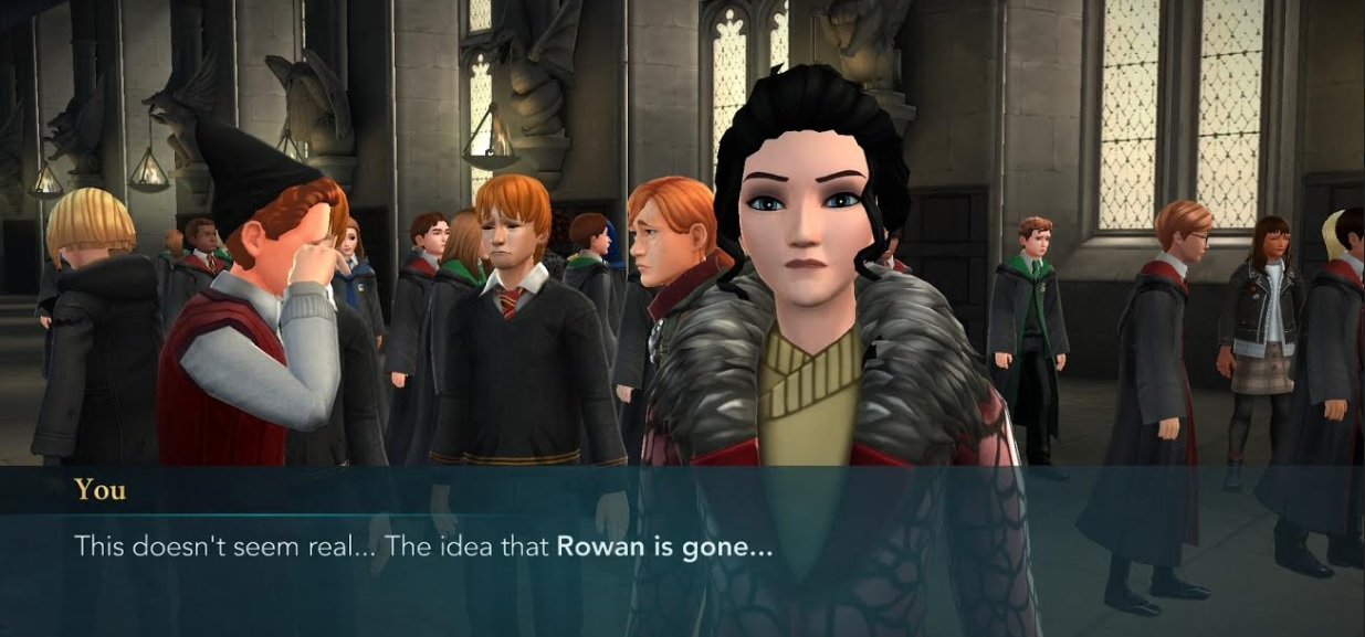 "A few of the Weasleys mourn Rowan Khanna in ""Harry Potter: Hogwarts Mystery""."