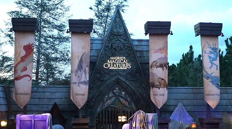Hagrid's Magical Creatures Motorbike Adventure prominently features a Green Man at the entrance