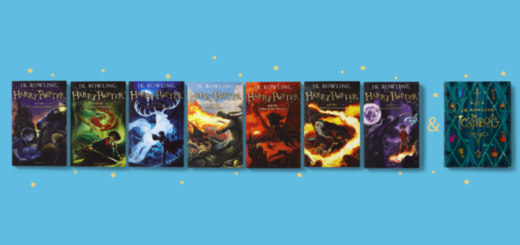 "A featured image of the seven-book ""Harry Potter"" series and ""The Ickabog"" against a light blue background with stars is shown."