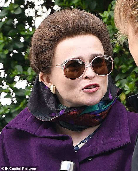 "Helena Bonham Carter is picture perfect as Princess Margaret during filming for Season 4 of ""The Crown""."