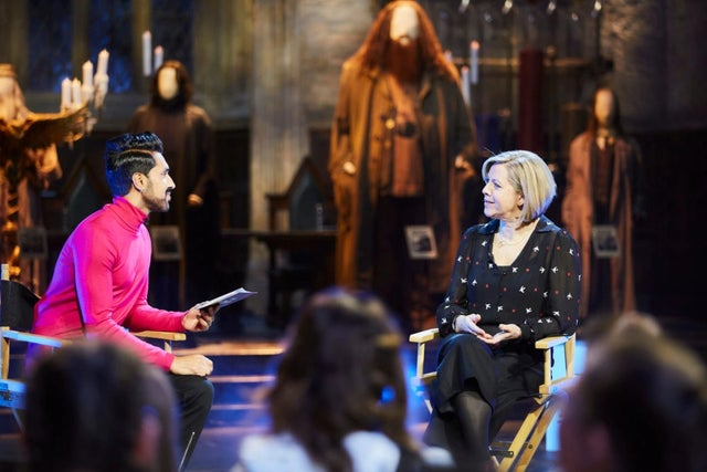 "Miraphora Mina speaks with BBC presenter Mobeen Azhar during ""Making the Magic: From Story to Screen."""