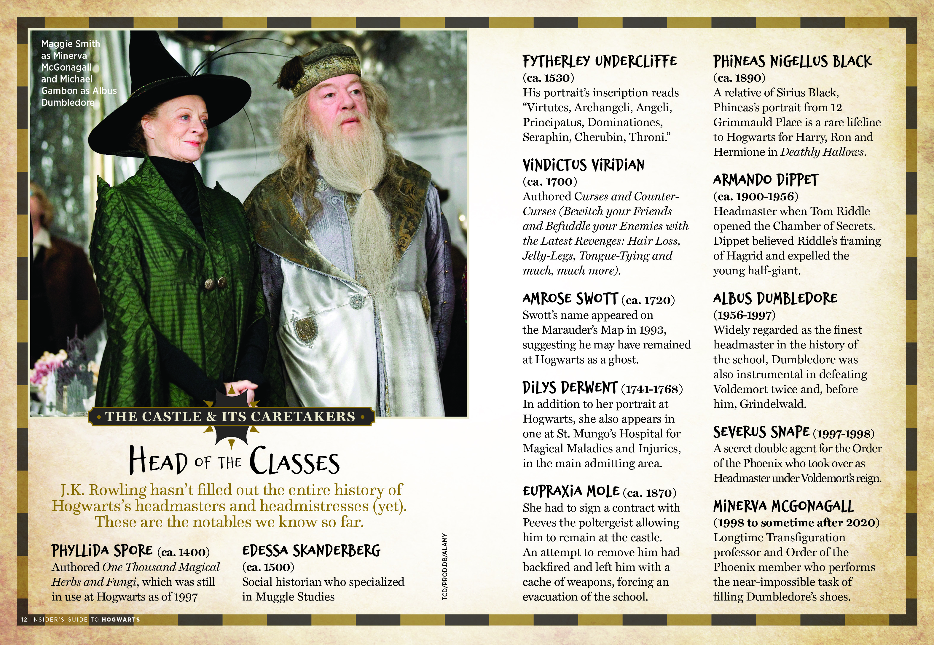 "Insider's Guide to Hogwarts – ""Head of the Classes"" spread"