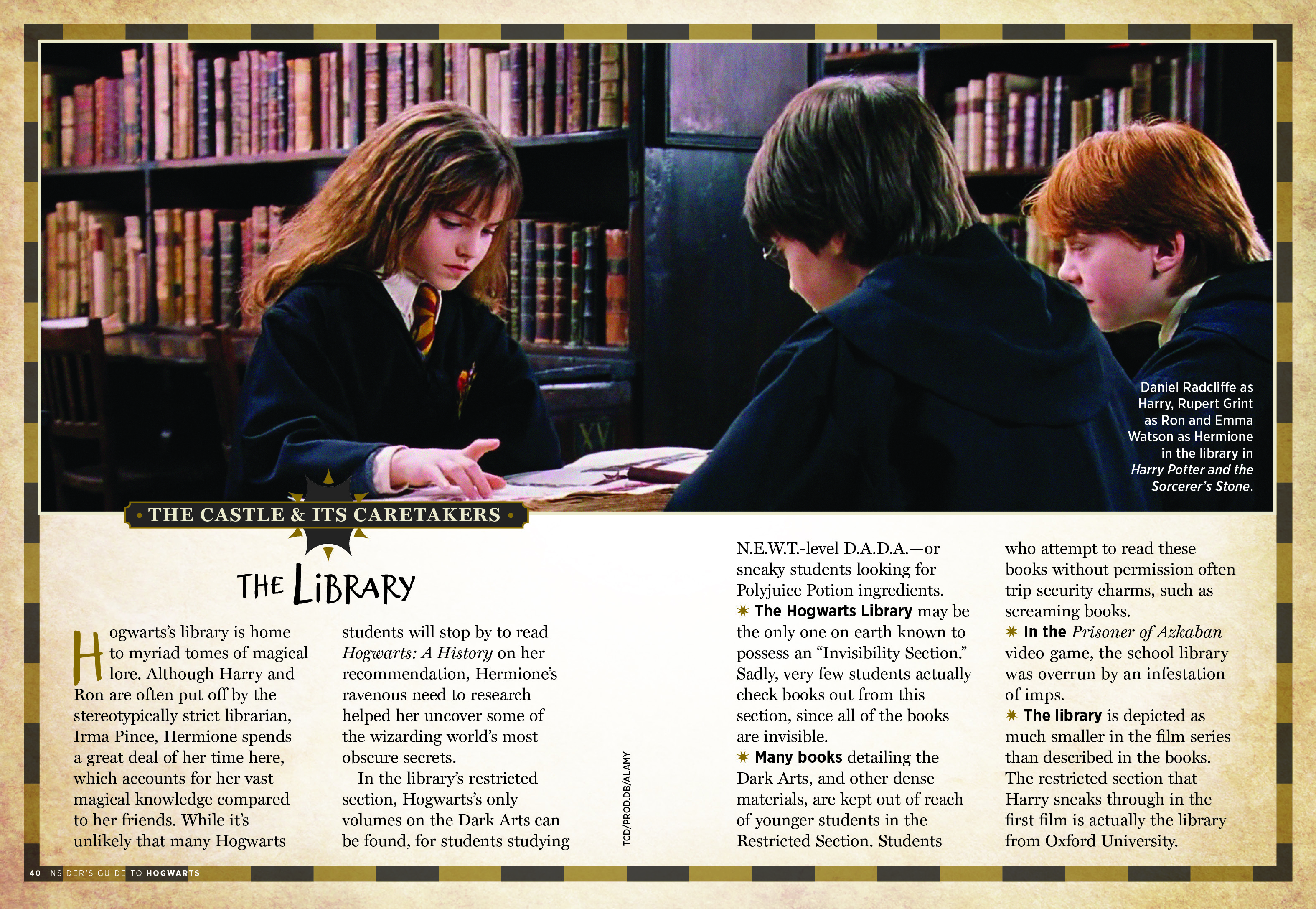 "Insider's Guide to Hogwarts – ""The Library"" spread"