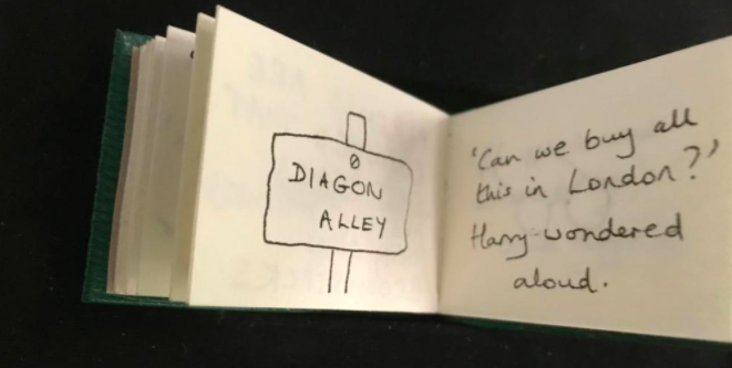 The excerpt details Harry's first experience with the wizarding world.