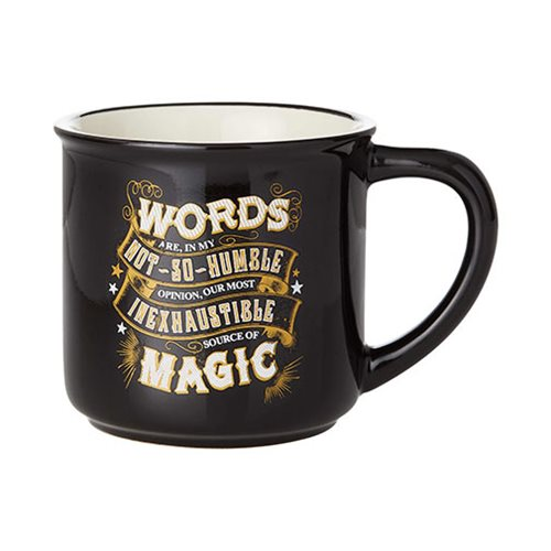 We agree with this Enesco Black Magic Mug (and Dumbledore) that words are magical, but we still won't speak them until after our coffee.