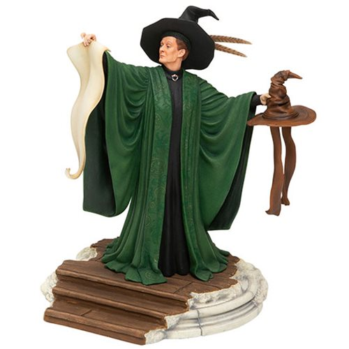 Professor Minerva McGonagall stands ready to give the next Hogwarts first year an anxiety attack during the Sorting Ceremony in this statue by Enesco.