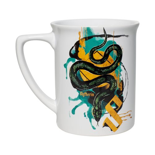Slytherin to the breakfast table and have a cuppa in this Enesco Slytherin mug, also available in the three other House styles.
