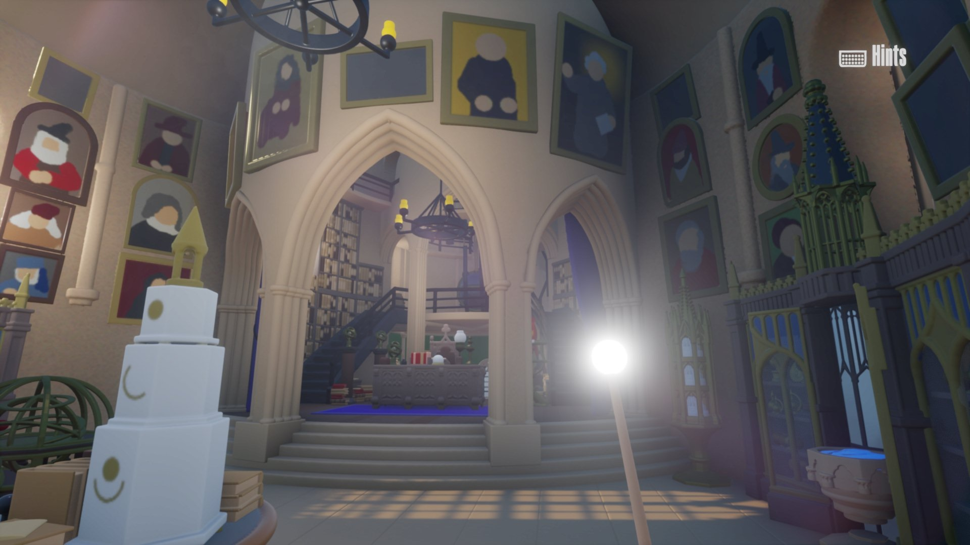 """This screenshot from Barian1998's """"Dreams"""" Hogwarts walk-through shows the first-person player lighting their wand while exploring Dumbledore's office."""