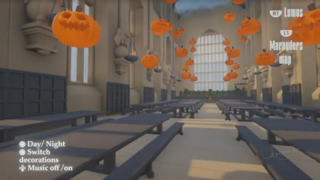 """This screenshot from Barian1998's """"Dreams"""" Hogwarts walk-through shows the Great Hall decorated for Halloween."""