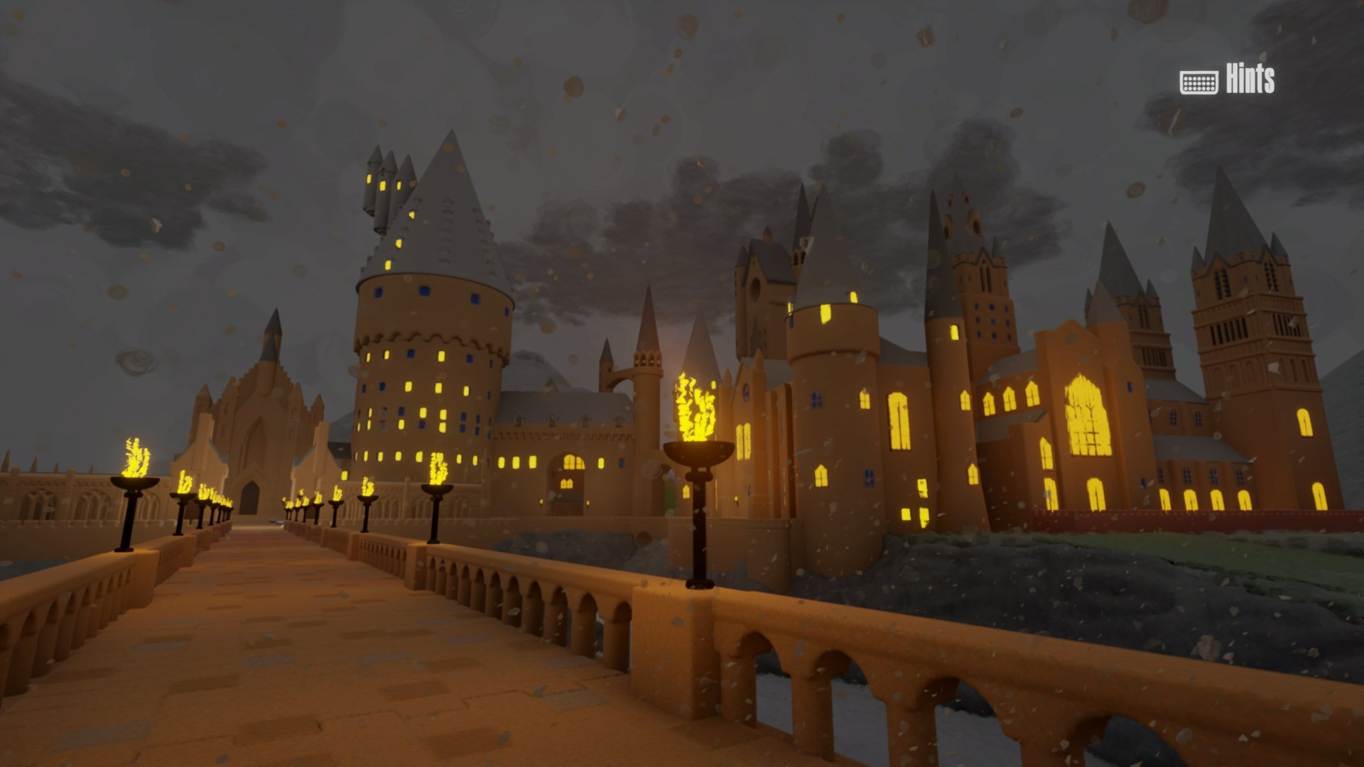 """This screenshot from Barian1998's """"Dreams"""" Hogwarts walk-through shows a stunning view of the exterior of Hogwarts at night."""