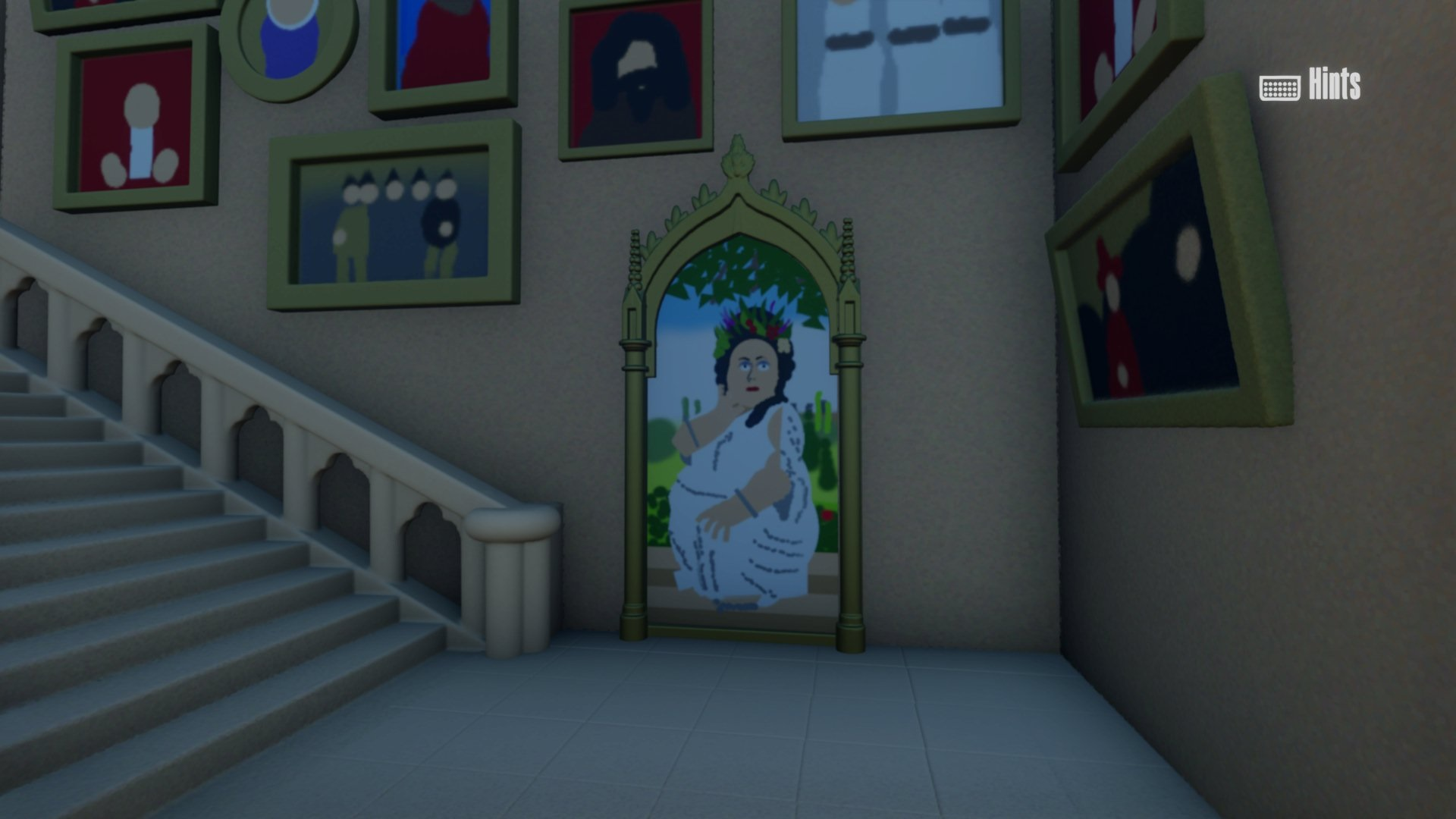 """This screenshot from Barian1998's """"Dreams"""" Hogwarts walk-through shows the portrait of the Fat Lady."""