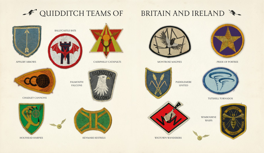 Here are the emblems of the Quidditch teams of Britain and Ireland, several of which appear on the UK cover of the book.