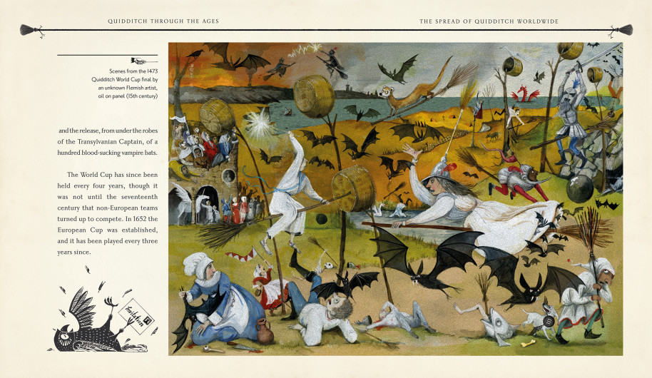Gravett drew the 1473 Quidditch World Cup final, which seems to have featured a bat attack.