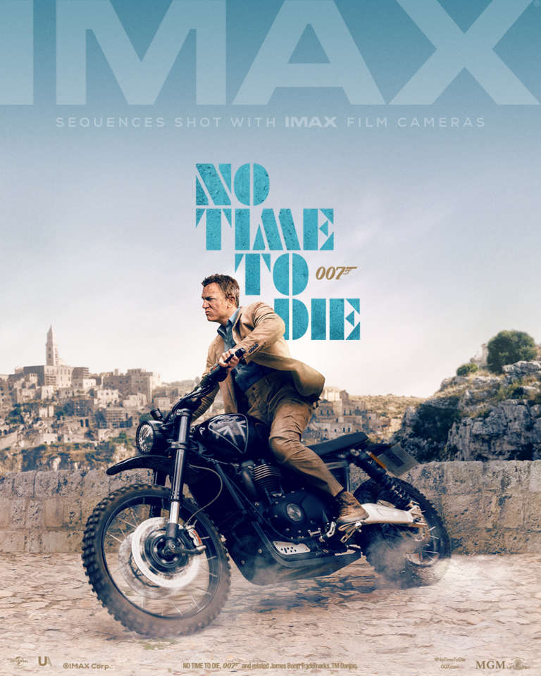 "Pictured is a new IMAX poster for ""No Time to Die""."