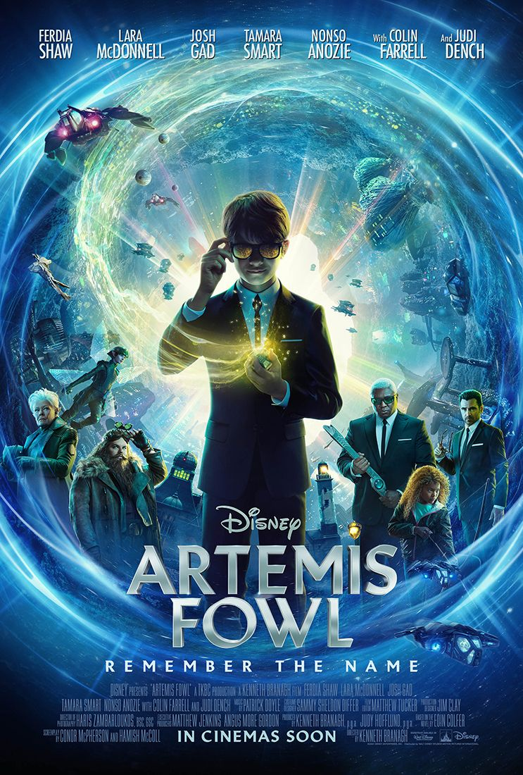 "Colin Farrell is seen on the movie poster for ""Artemis Fowl""."