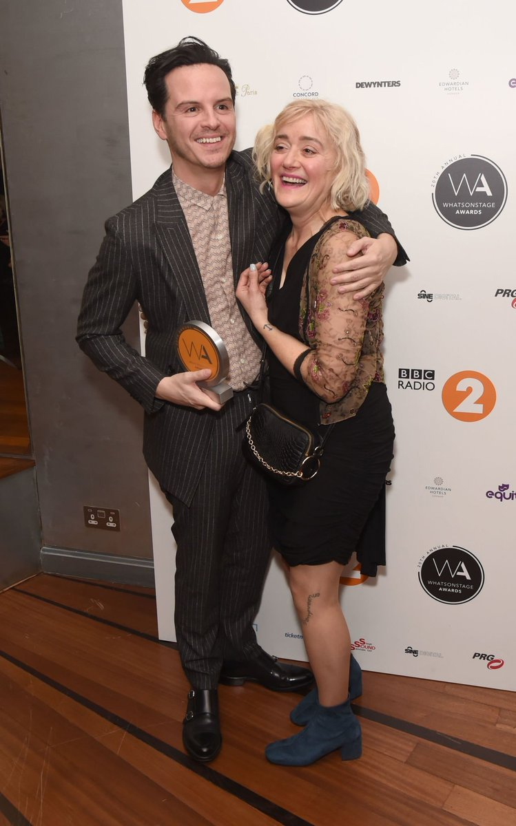 "Sophie Thompson shares a laugh with ""Present Laughter"" costar Andrew Scott at the WhatsOnStage Awards."