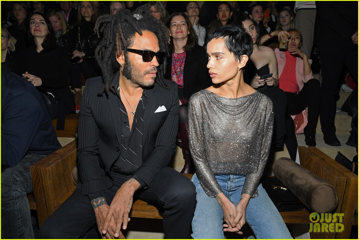 Lenny Kravitz looks at daughter Zoë Kravitz as if she just told him she wrecked the car during Paris Fashion Week.