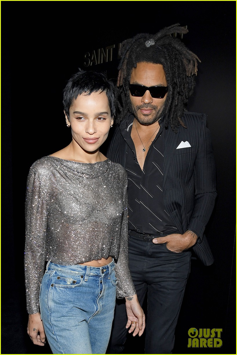 Zoë Kravitz and father Lenny Kravitz pose for a photo at Paris Fashion Week.