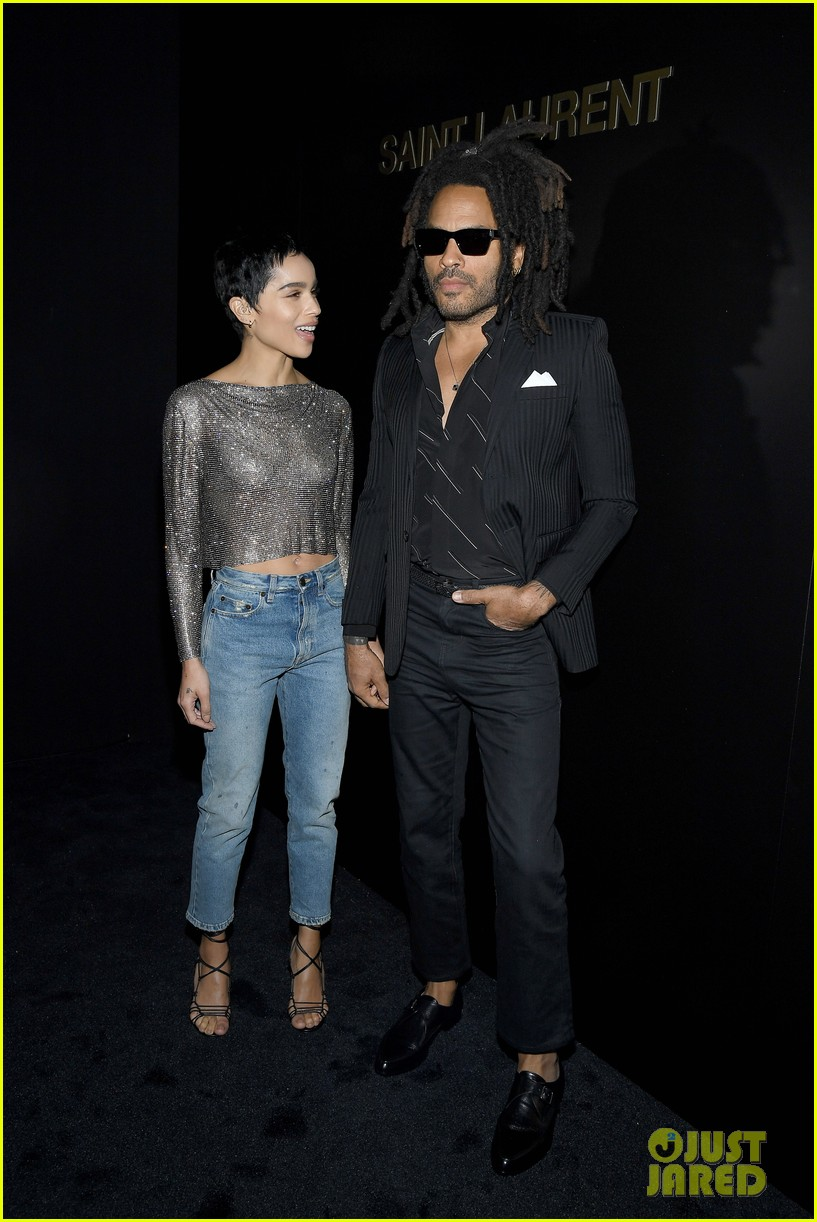 Zoë Kravitz and father Lenny Kravitz share a smile on the red carpet at Paris Fashion Week.