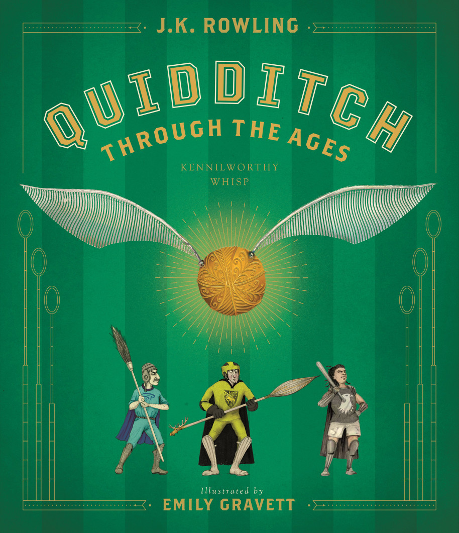 """The Scholastic """"Quidditch Through the Ages"""" cover is green and features a large, golden Snitch. Several small players are beneath the giant Snitch."""