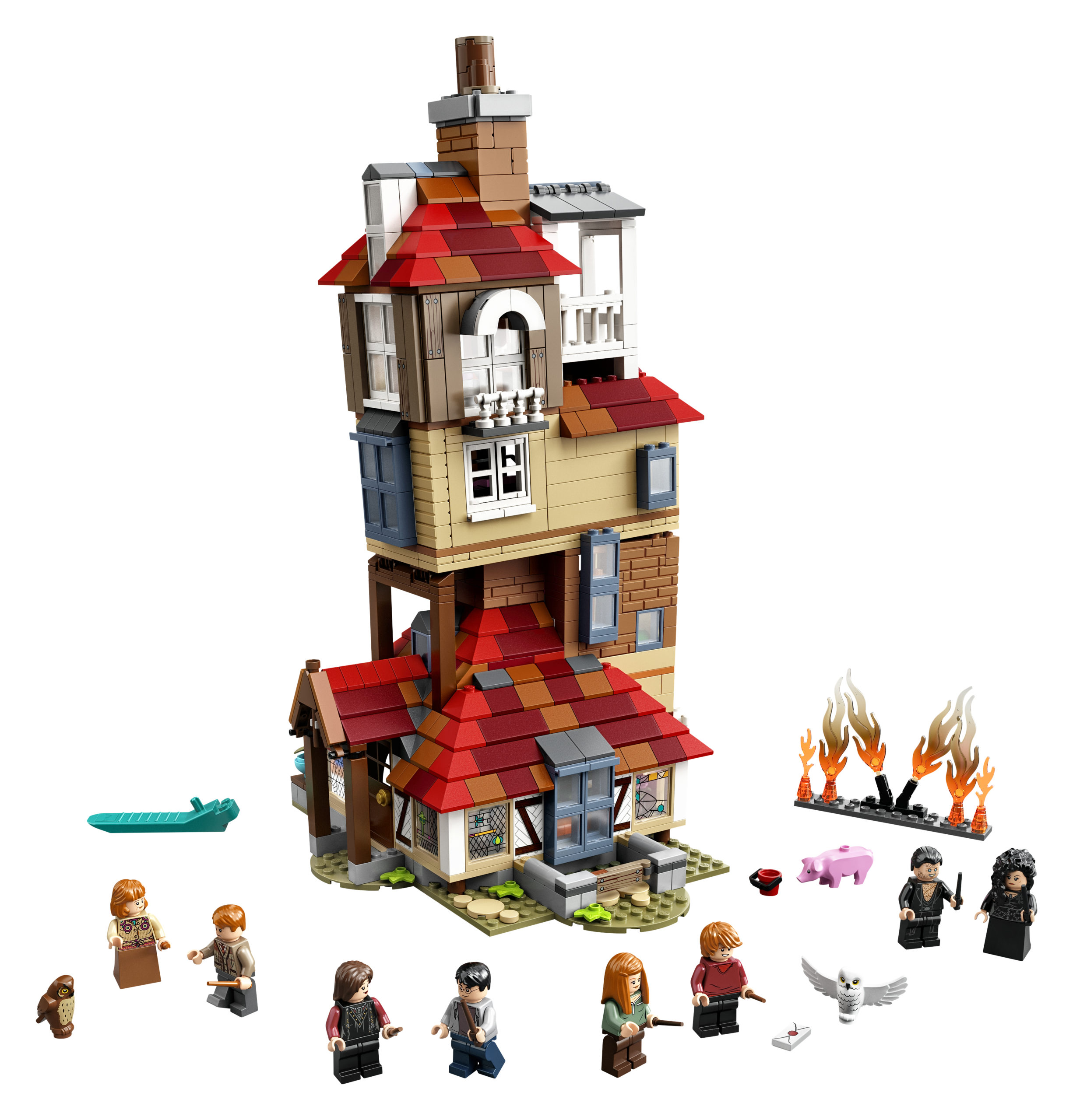 The 1,047-piece set includes Order of the Phoenix members and Death Eaters as the Burrow is attacked.