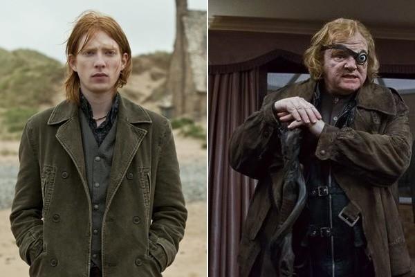 Domhnall Gleeson as Bill Weasley and Brendan Gleeson as Alastor Moody in Deathly Hallows Part 1.