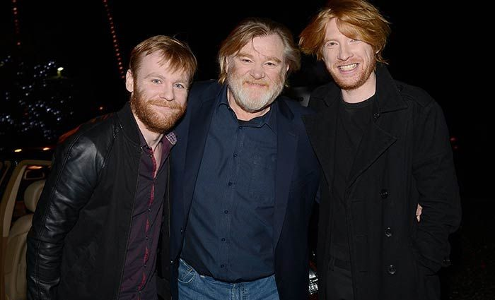 Brendan Gleeson poses happily for the camera with sons Brian and Domhnall