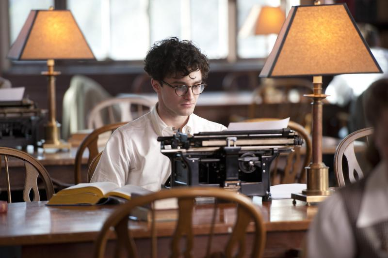 Daniel Radcliffe at a typwriter as Allen Ginsberg in Kill Your Darlings