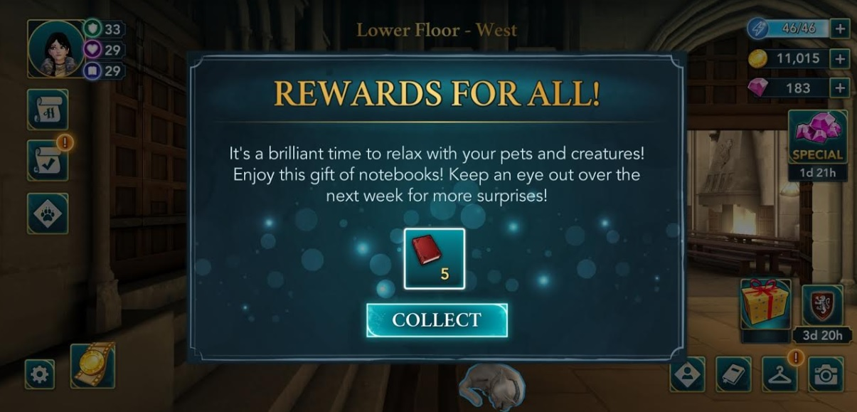 """""""Harry Potter: Hogwarts Mystery"""" is periodically offering free in-game bonuses."""