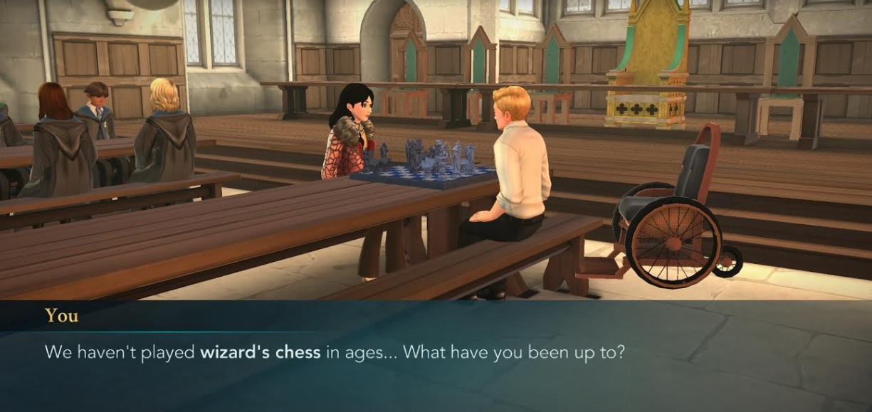 """Your character and Murphy McNully gather for a game of wizard chess in """"Harry Potter: Hogwarts Mystery""""."""