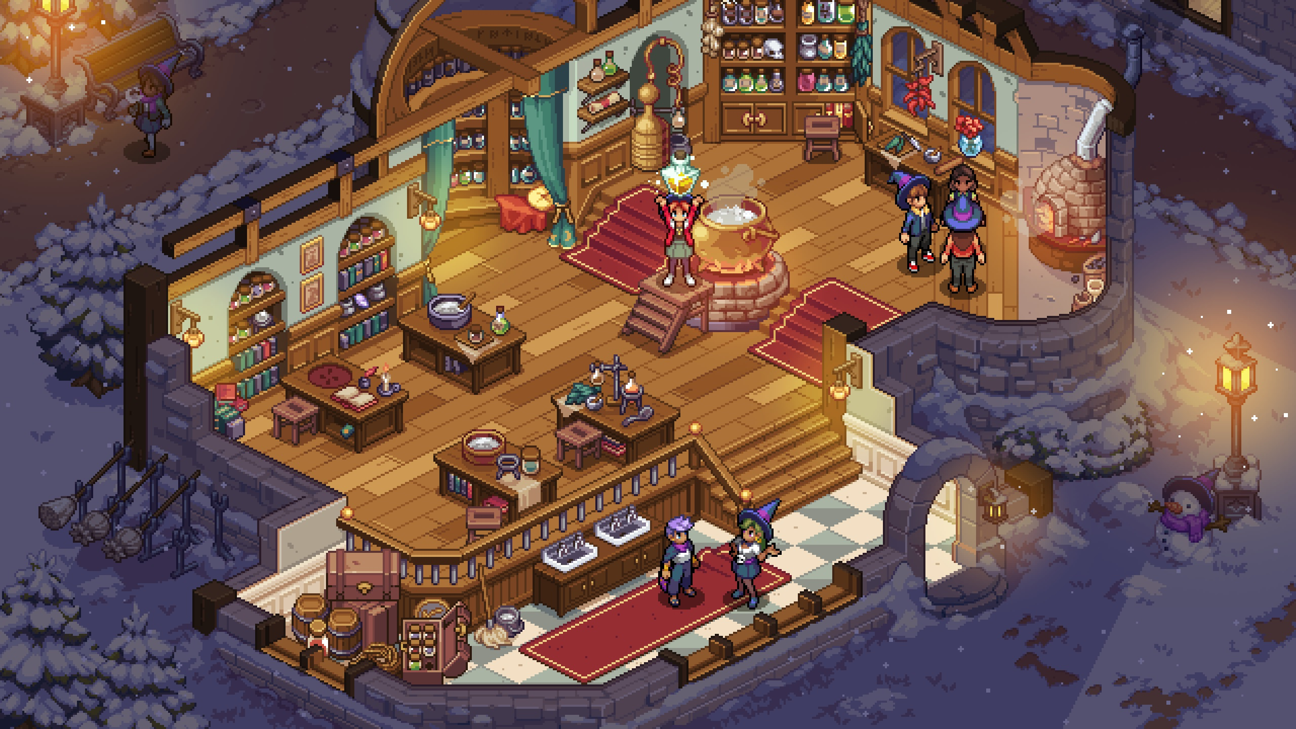 """A screenshot from the game """"Witchbrook"""" is pictured."""
