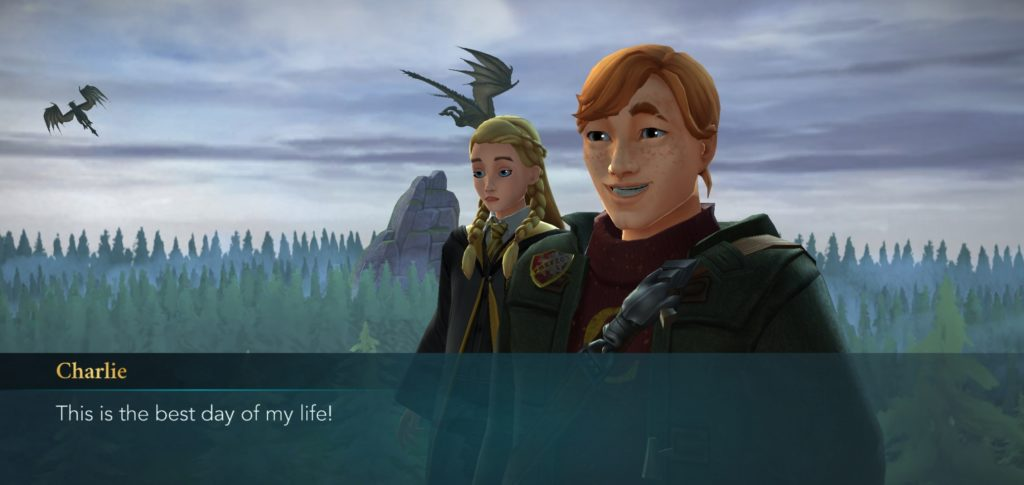 "Needless to say, Charlie Weasley is delighted to be at the Dragon Sanctuary in ""Hogwarts Mystery""."