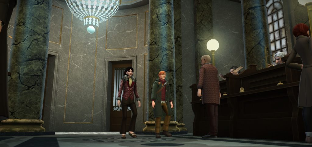 "Your ""Hogwarts Mystery"" character and Charlie Weasley enter Gringotts Wizarding Bank for the first time."