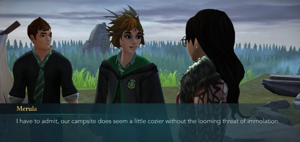 "Merula Snyde is happy (for once) to set up camp in the ""Hogwarts Mystery"" Dragon Sanctuary."