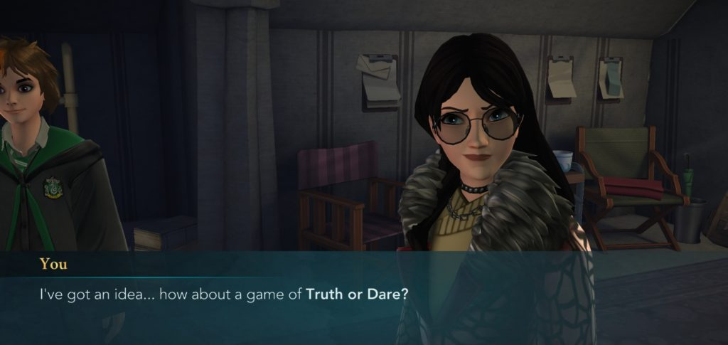 "Games of Truth or Dare frequently don't end well, but your character suggests one anyway in ""Hogwarts Mystery""."