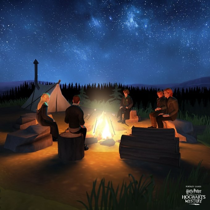 Your character enjoys a s'mores-making session with Bill Weasley and other friends.