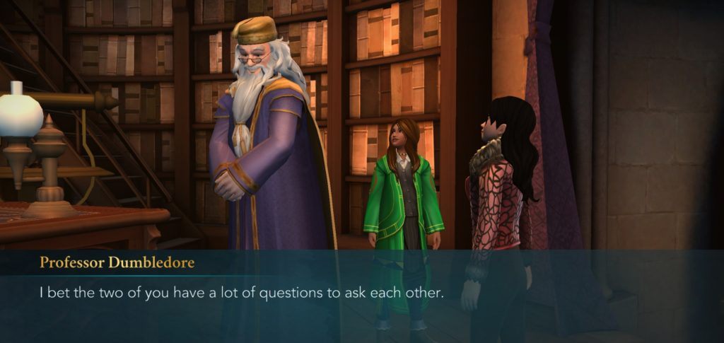 "Professor Dumbledore encourages you to make friends with a stranger because that's worked out well before in ""Harry Potter: Hogwarts Mystery""."