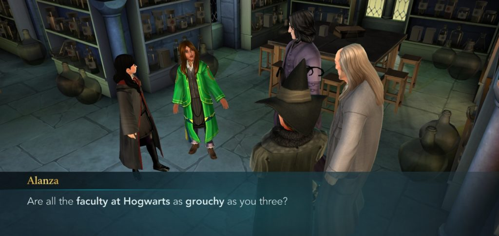 "Alanza Alves is unimpressed with Hogwarts' ill-tempered faculty and staff in ""Harry Potter: Hogwarts Mystery""."