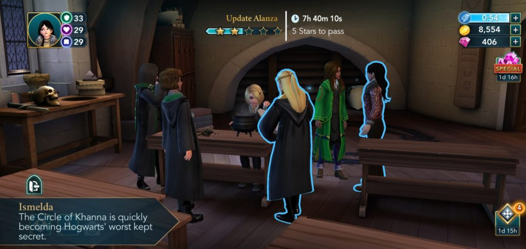 "Ismelda Murk makes an observation about the Circle of Khanna's secret-keeping abilities in ""Harry Potter: Hogwarts Mystery""."