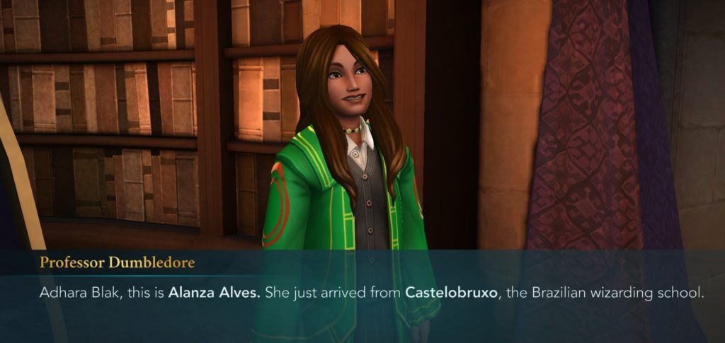 "Alanza Alves introduces herself in ""Harry Potter: Hogwarts Mystery""."